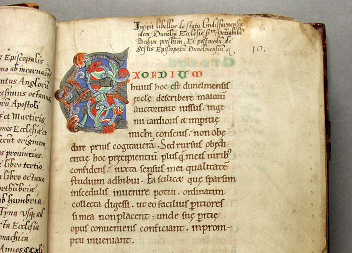 "Detail from a 12th century manuscript written in Durham by Symeon, a monk at the Cathedral, entitled ""A Tract on the Origins and Progress of this the Church of Durham."" It is an essential work on the history of Durham which passed hands over the centuries and found its way into John Cosin's library by 1668."